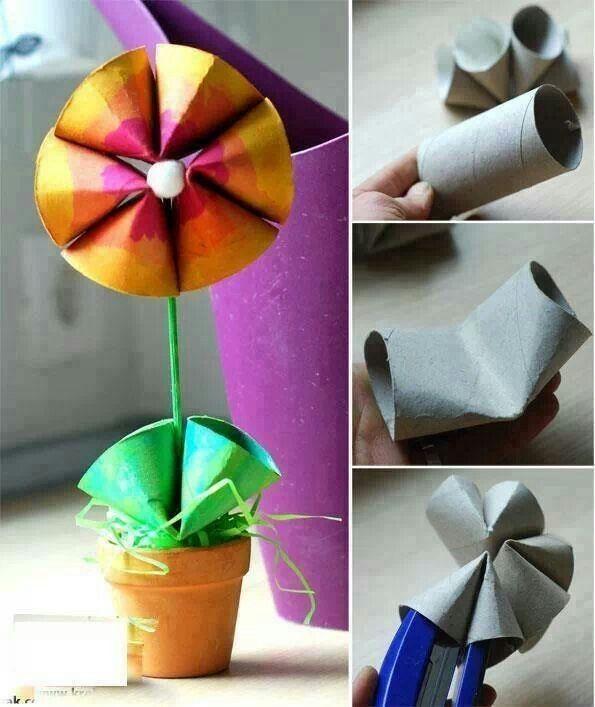 Avec des rouleaux de papier toilette - Fleur papier toilette ...